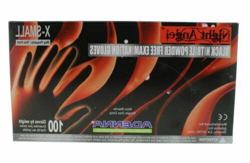 Adenna Night Angel Nitrile Black Powder Free Exam Glove, Cas
