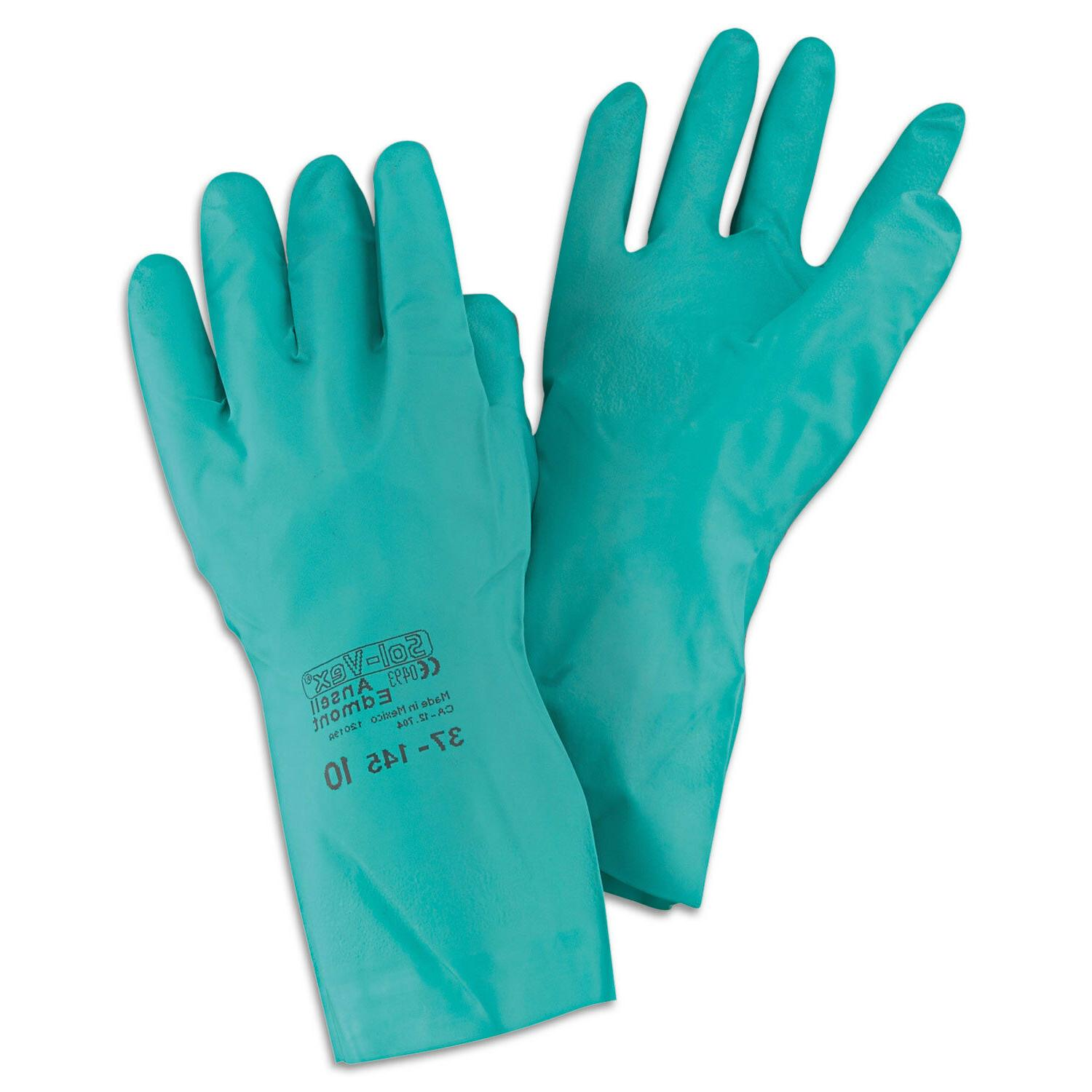Ansell Sol-Vex Sandpatch-Grip Nitrile Gloves Green Size 10 1