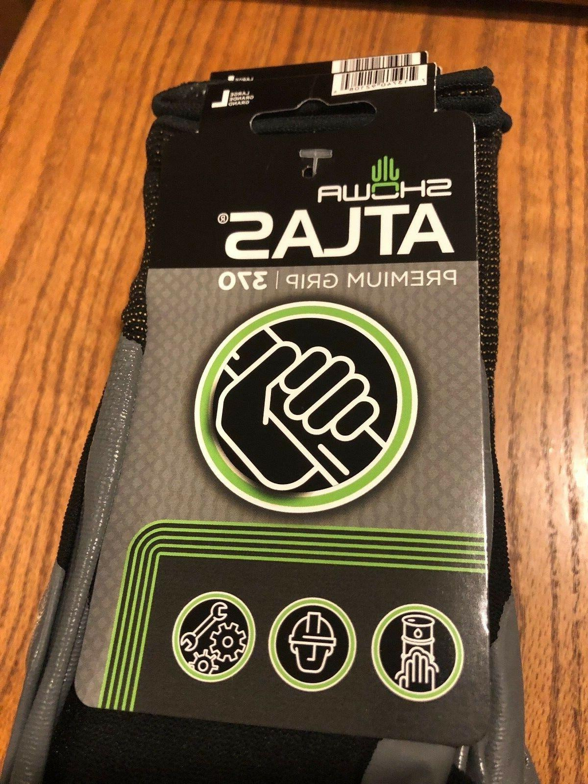 ATLAS 370 BLACK LARGE WORK GLOVES WITH TAG