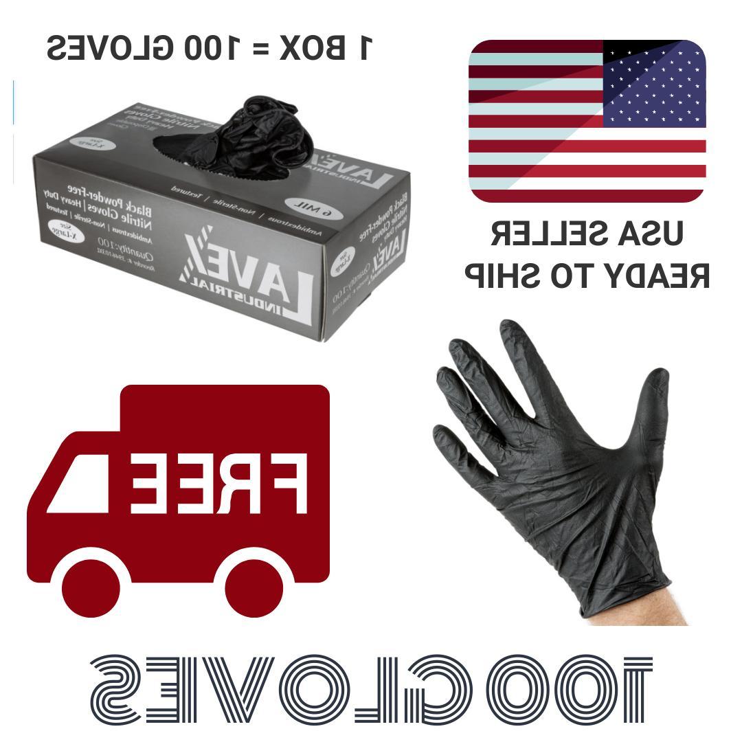 black nitrile 6 mil gloves powder free
