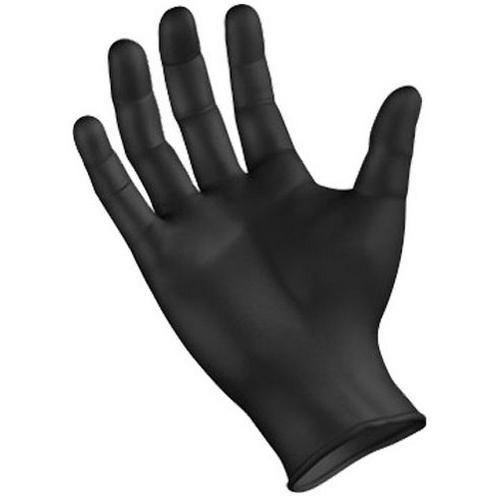 black nitrile disposable gloves powder