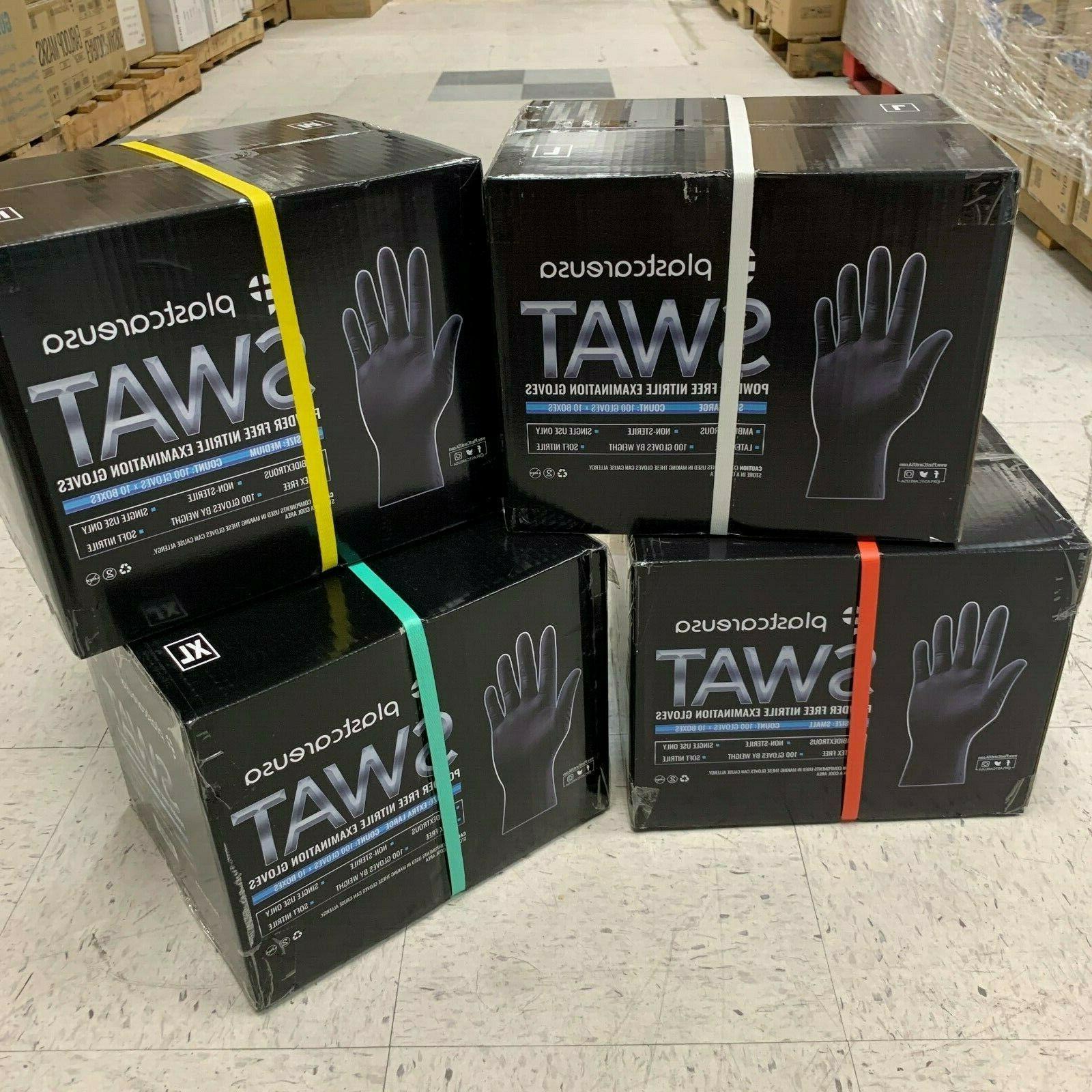 Black Nitrile Tattoo EXAM Food Cleaning Gloves Powder/Latex