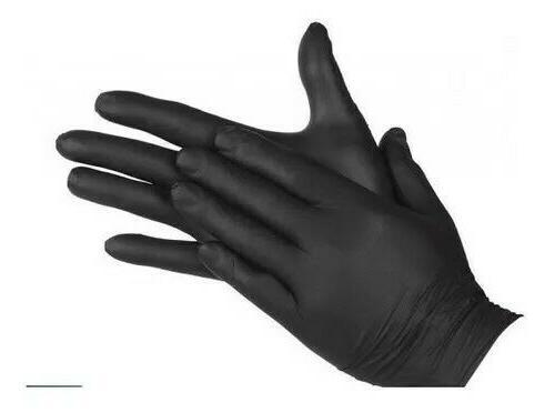 black nitrile examination gloves powder free small
