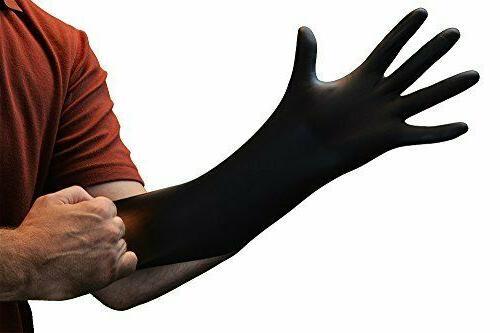 AMMEX Black Nitrile Gloves Disposable, Powder Free, Latex Fr