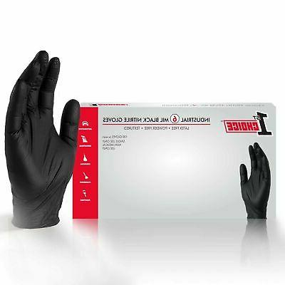 black nitrile industrial latex free disposable gloves
