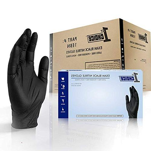 black nitrile thick disposable gloves
