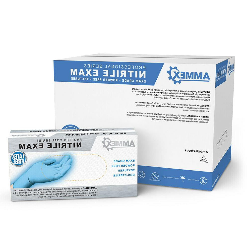 blue medical nitrile exam latex free disposable