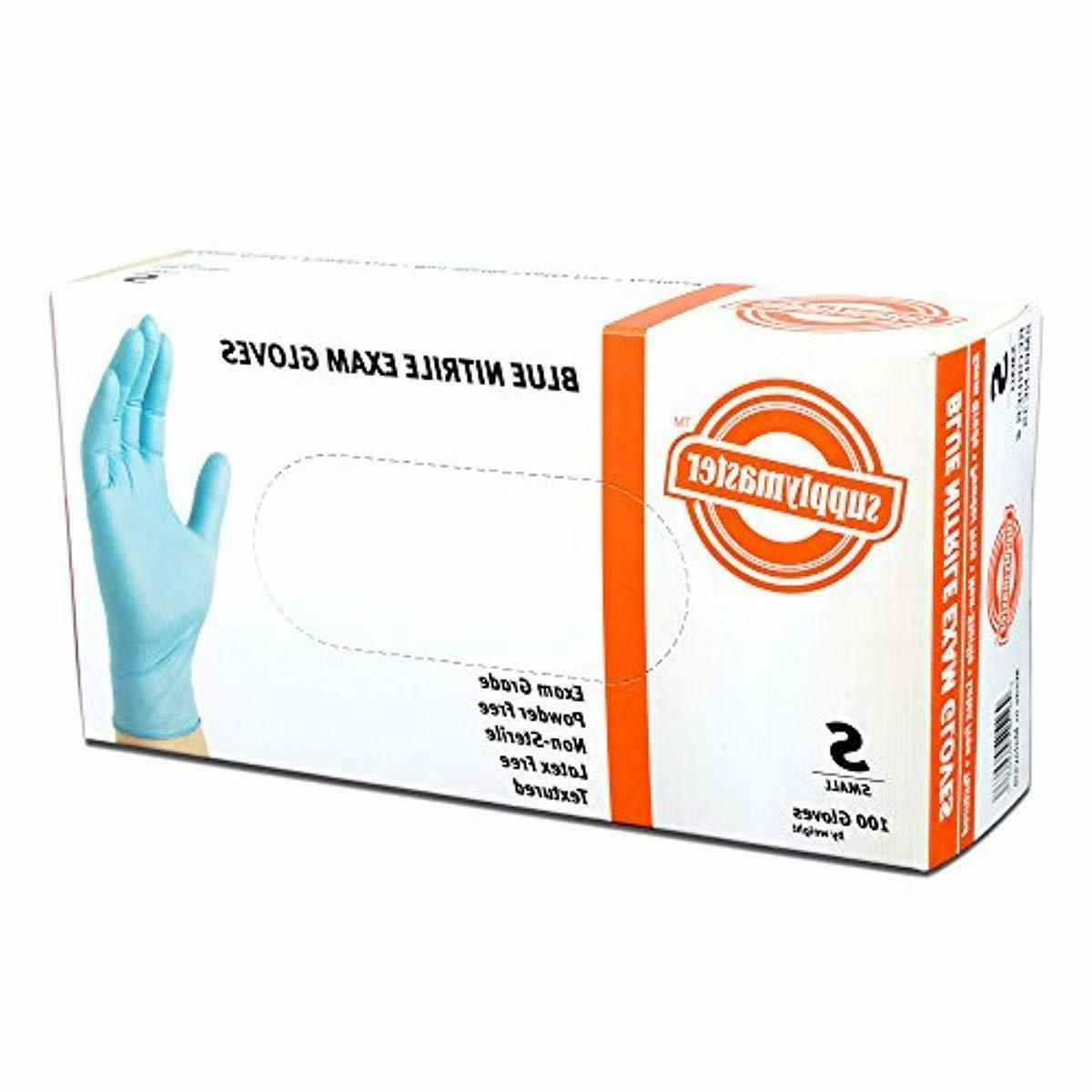 SupplyMaster Nitrile Disposable Gloves,Powder Free,Textured 400