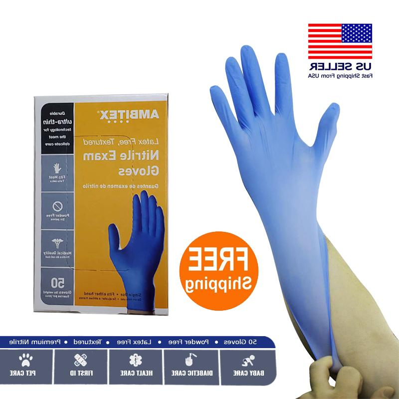 blue nitrile exam gloves latex powder free