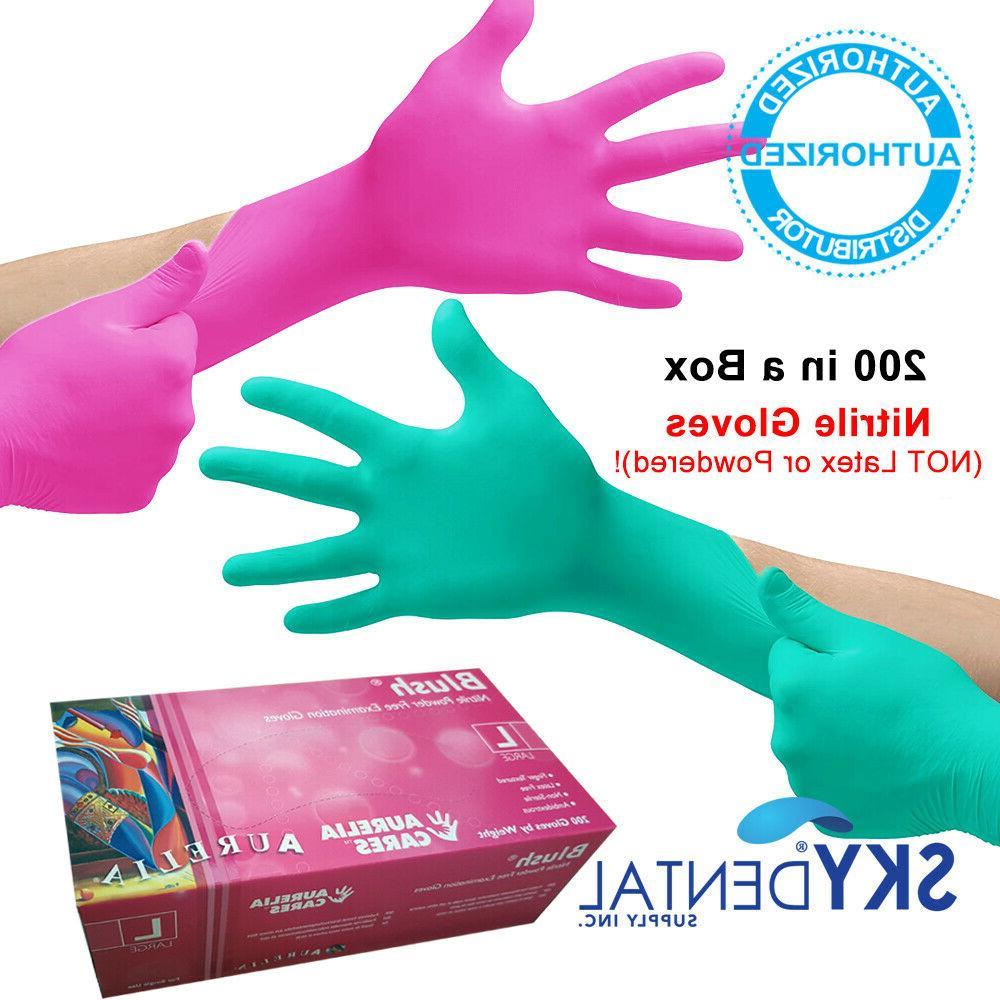 blush nitrile latex free medical exam gloves