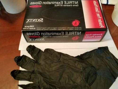 box of 100 black nitrile exam gloves