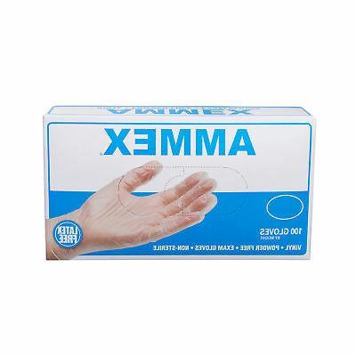 AMMEX Medical Vinyl Exam Free Disposable Gloves