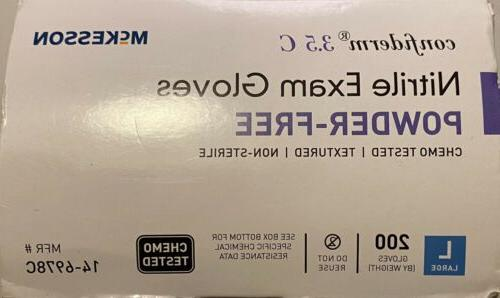 McKesson Confiderm Tested Nitrile Exam Gloves Size Large of 200