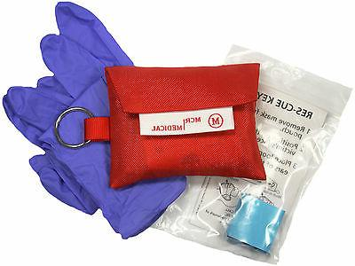 3-Pack CPR Mask Keychains with Nitrile Gloves, MCR
