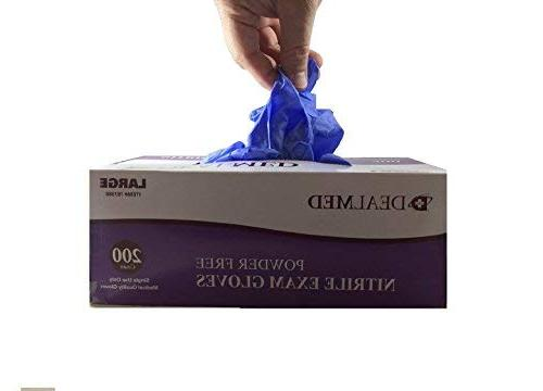 Dealmed Nitrile Grade Gloves, Disposable, Latex-Free, 200 Count, Large