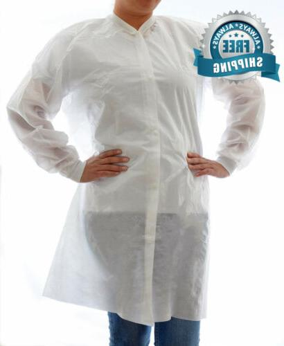disposable sms lab coat no pockets white