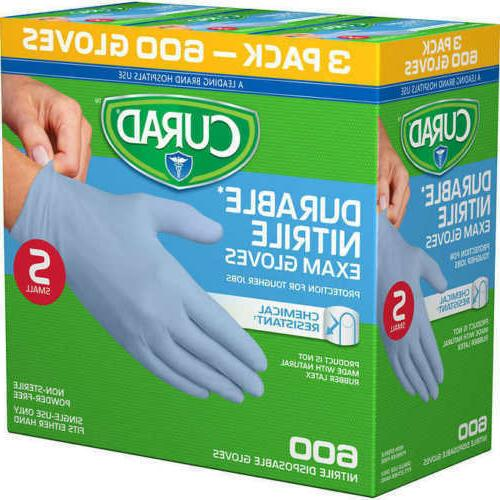 Curad Durable Nitrile Exam Gloves, Small, 600 ct