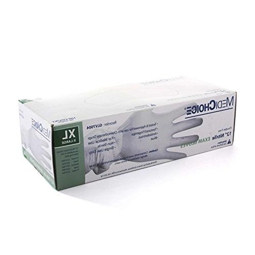 MediChoice Large, Ambidextrous, Disposable, Powder-Free, For With Some Chemo, Nitrile, Not Made With Natural Rubber Latex