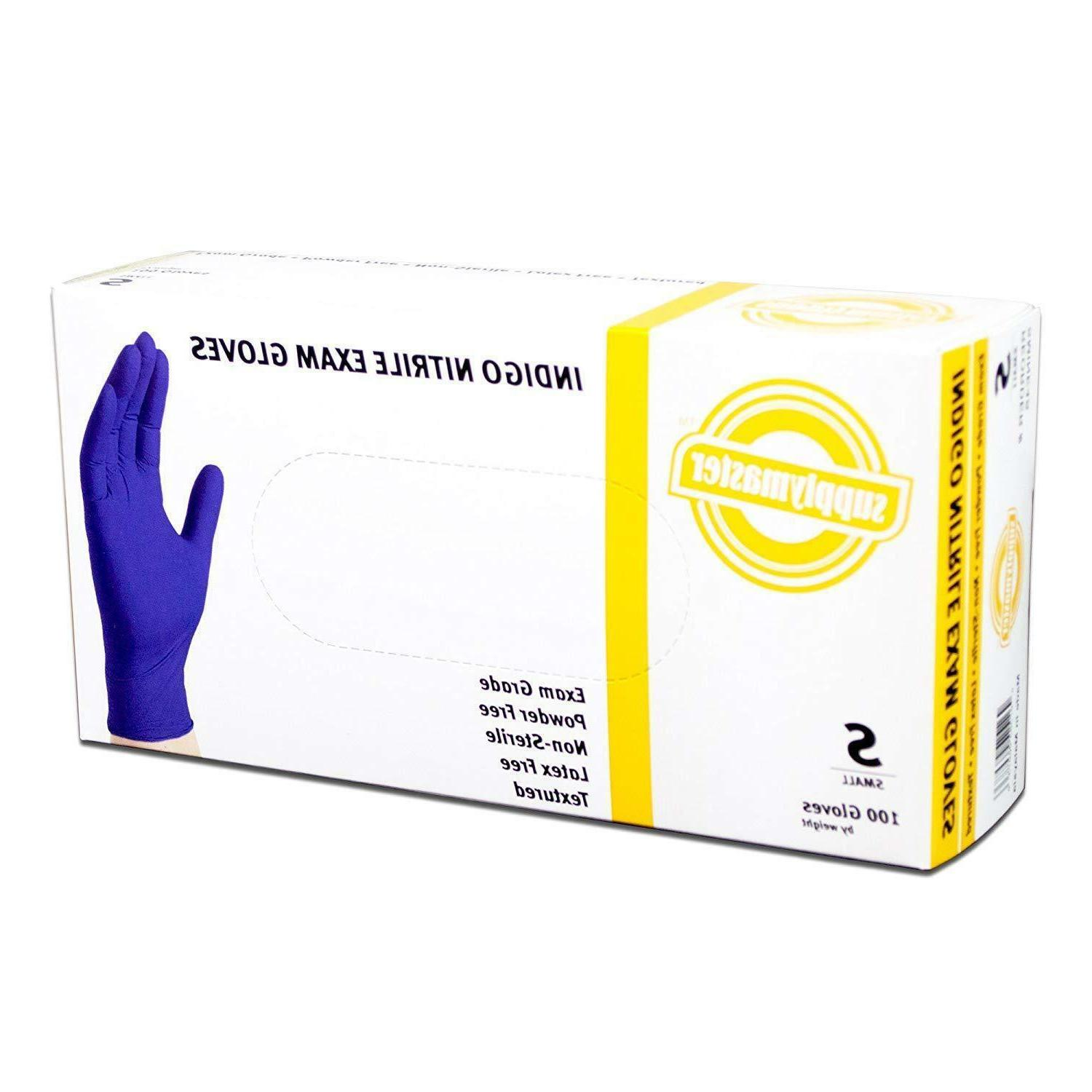 exam nitrile gloves 4 mil small indigo
