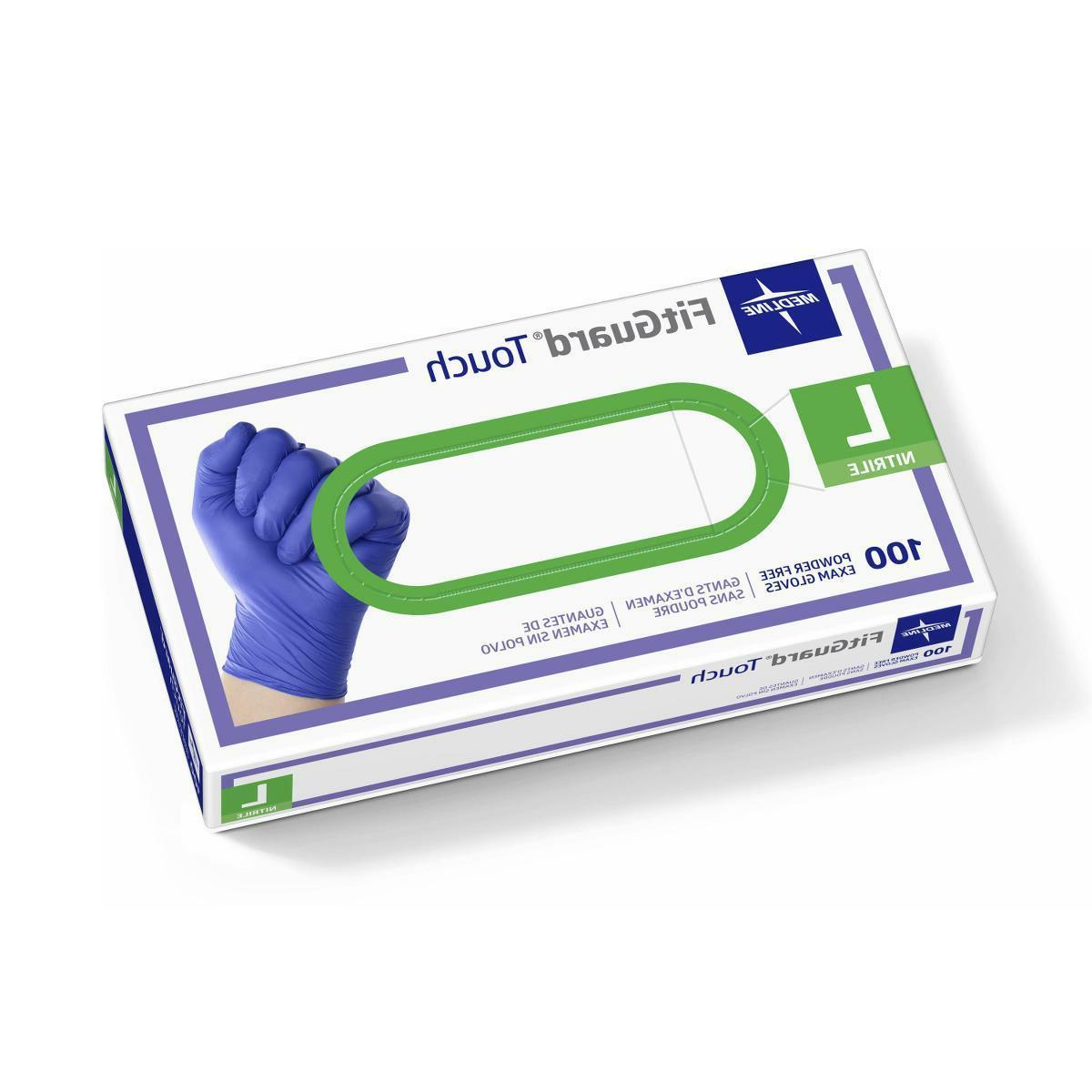 Medline FitGuard Touch Nitrile Exam Gloves Powder-Free Large
