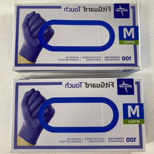 Medline FitGuard Touch Nitrile Exam Gloves Powder-Free Mediu