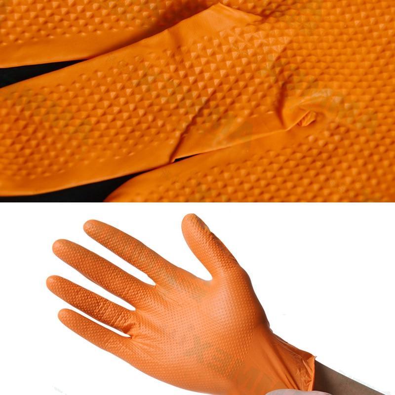 <font><b>AMMEX</b></font> Thicken <font><b>Glove</b></font> Work Orange 100pcs Disposable Non-slip Safety