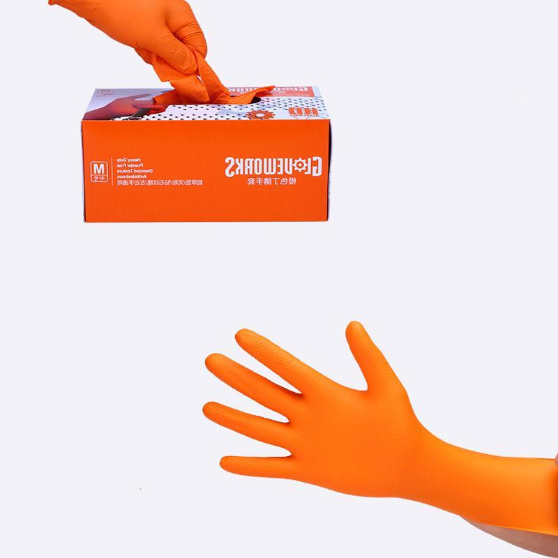<font><b>AMMEX</b></font> <font><b>Glove</b></font> <font><b>Nitrile</b></font> Work <font><b>Gloves</b></font> Orange Disposable Non-slip Safety Boxed