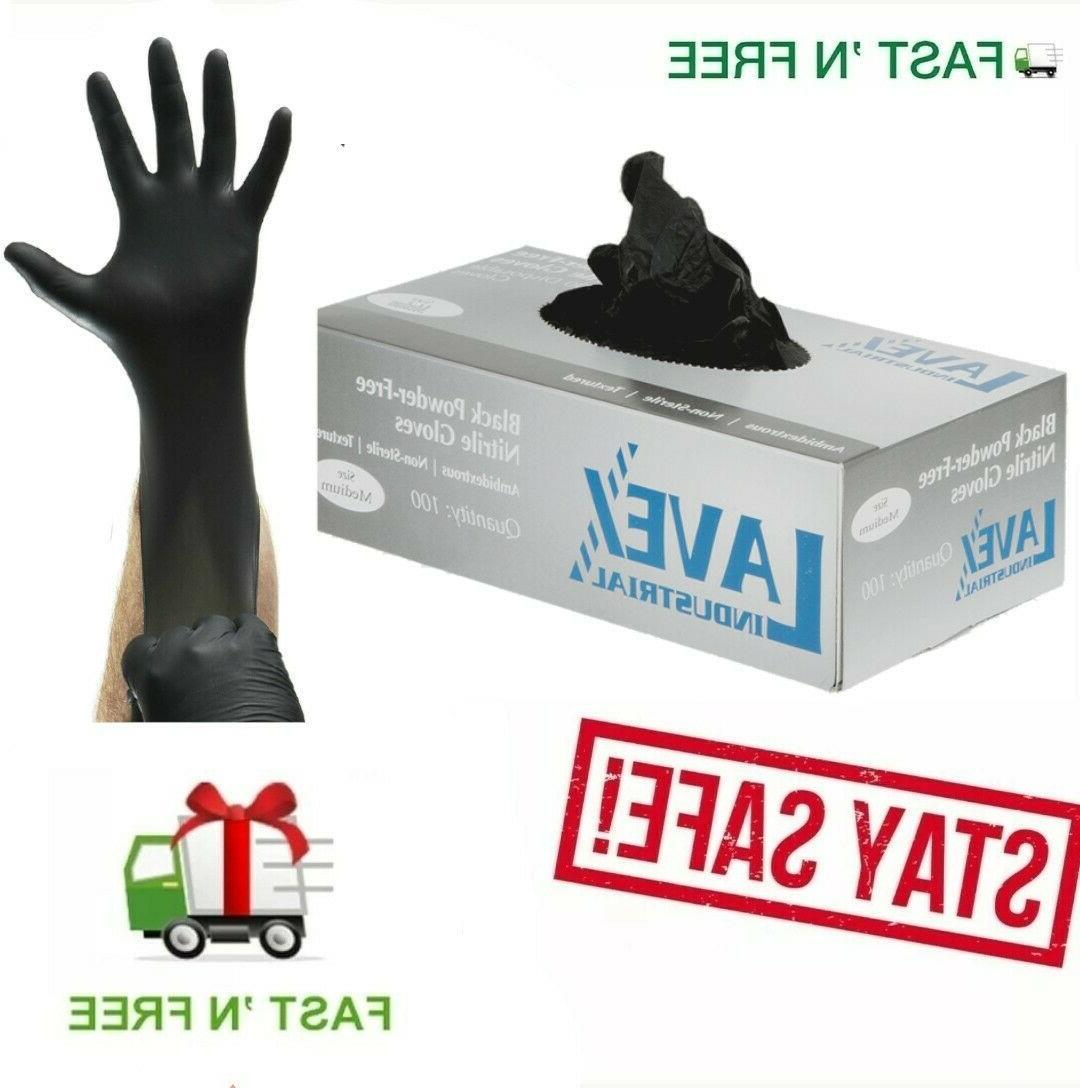 gloves 100 pcs nitrile black powder free