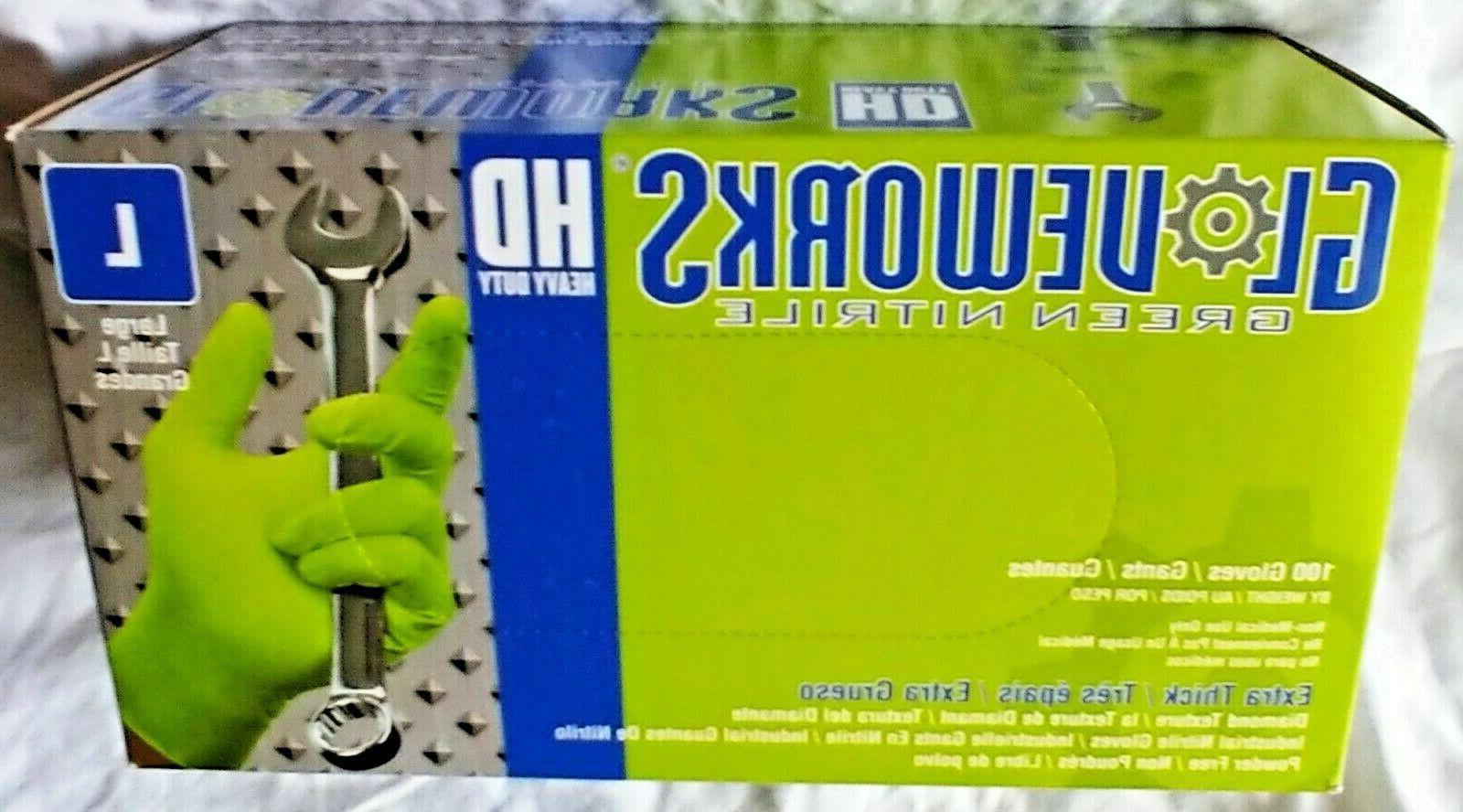GloveWorks HD Green Latex Industrial Powder Free 8MIL