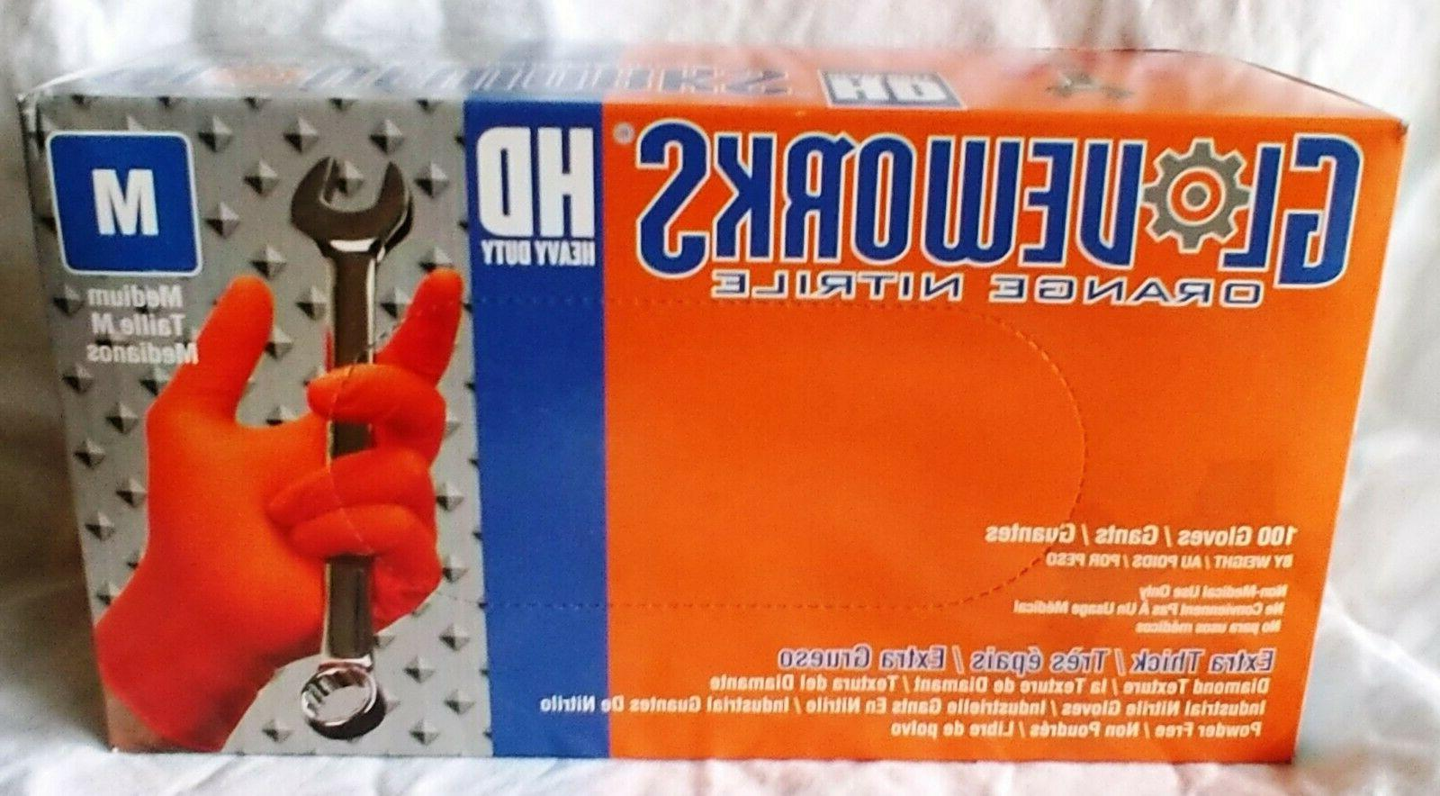 GloveWorks Orange Nitrile Powder Free Industrial Gloves 8MIL