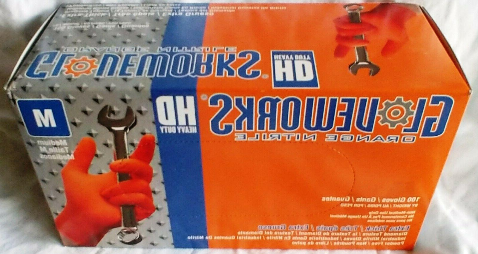 GloveWorks Orange Powder Free Industrial Gloves S-XXL