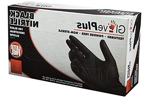 AMMEX - GPNB42100-BX Nitrile GlovePlus Latex Disposable, Powder mil, Small, Black