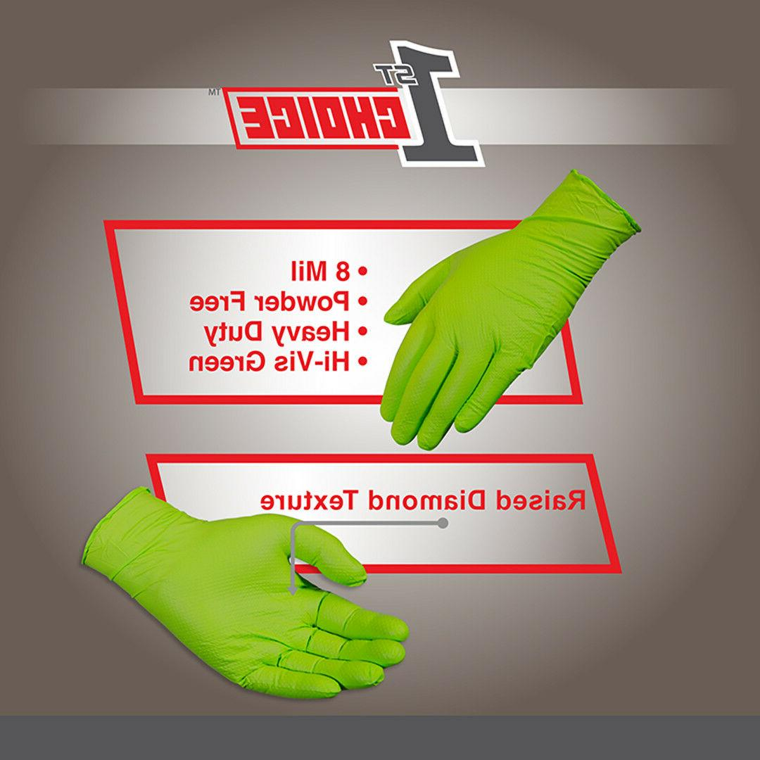 1st Choice Latex Free Disposable Green Nitrile 8 Mil Gloves Vinyl