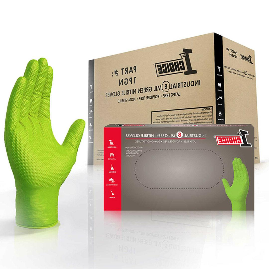 green nitrile industrial latex free disposable gloves