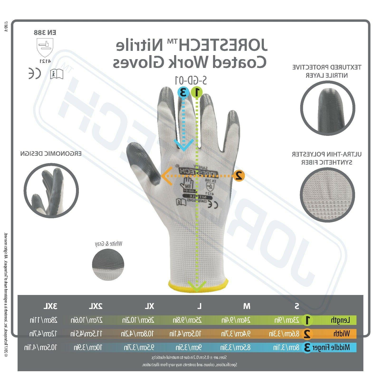 Grey Nitrile Dipped Work Gloves JORESTECH