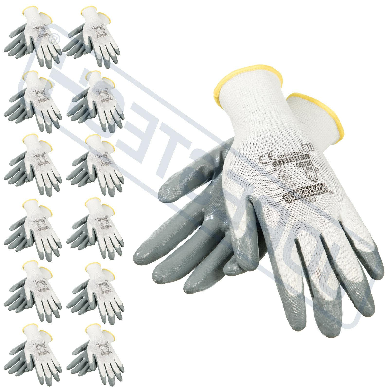 grey nitrile dipped poly work gloves 12