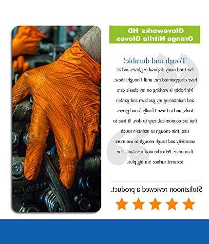 AMMEX GWON42100-BX Nitrile Gloveworks, Powder Rubber Free, 8 Orange