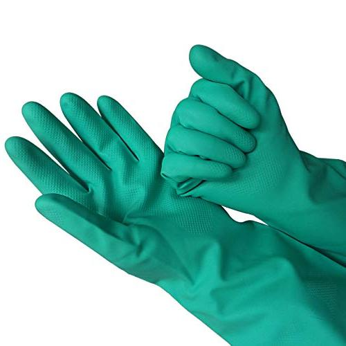 Sunyel Duty Gloves, 15 Reusable Household Nitrile Gloves with Resistance to Oil, Acid, and Solvent