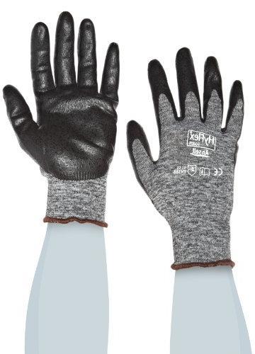 Ansell HyFlex Glove, Black Coating, Knit Wrist Cuff, Large,