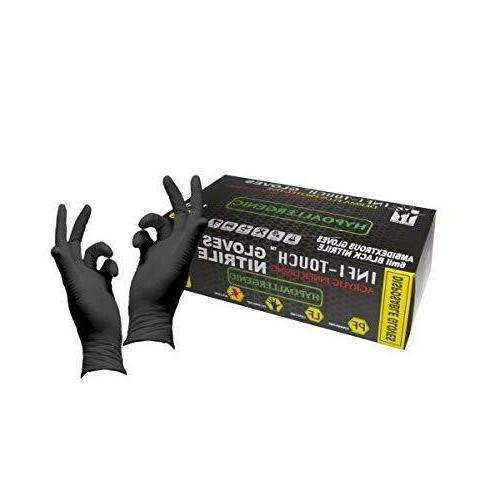Infi-Touch Heavy Duty, Black Nitrile Gloves Powder Free 100