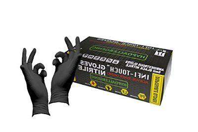 "Infi-Touch Heavy Duty Black Nitrile Gloves 9.5"" Length Powde"