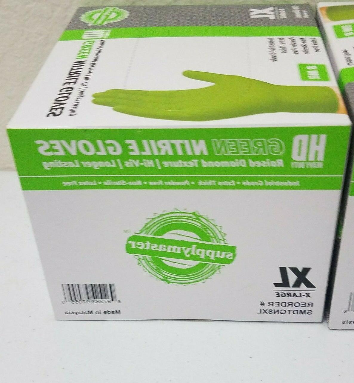 Lot Green Nitrile Gloves 8 Mil Industrial Thick