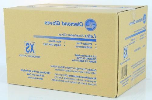 Diamond X-Small Latex Exam Powder-Free Ten 100-Packs