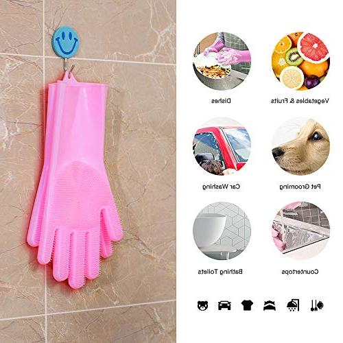 Magic Silicone Scrubber Gloves,Reusable Brush for the home Car Countertops Sink Microwave Aquarium,Pet Hair grooming,13.3""