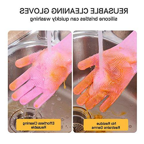 "Magic Saksak Silicone Scrubber Gloves for Cleaning Car Care,Kitchen Bathroom Countertops Sink Microwave Hair grooming,13.3"" 1"