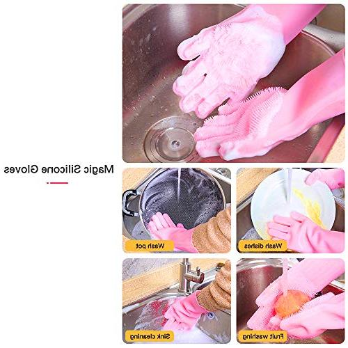 Magic Scrubber Gloves,Reusable Brush Gloves for Car Care,Kitchen Sink Microwave Hair Pair