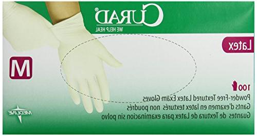 Medline CURAD Latex Exam Gloves,Beige,Medium, 100 Each / Box