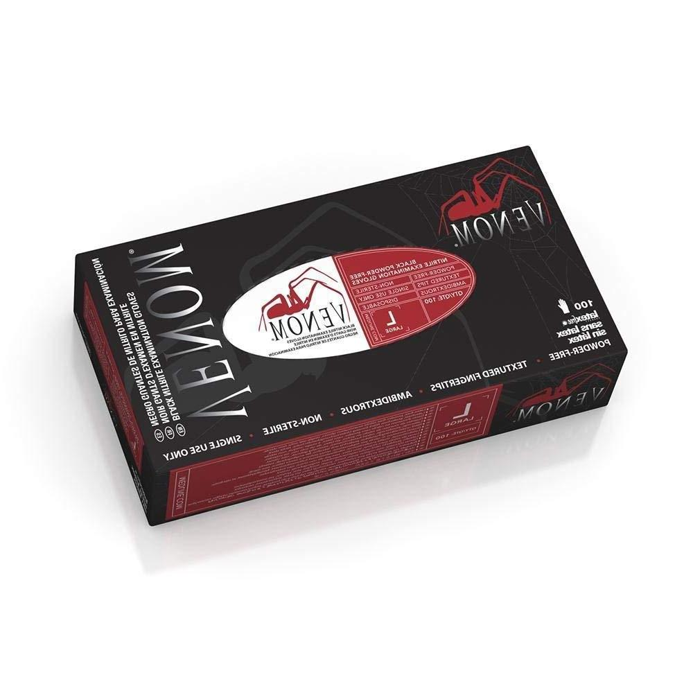 mg6113 venom black nitrile exam gloves powder