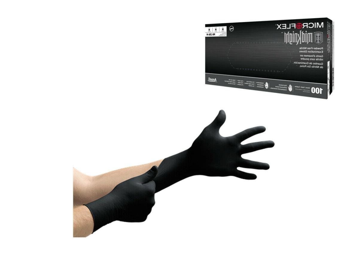 midknight black nitrile gloves pf box 100