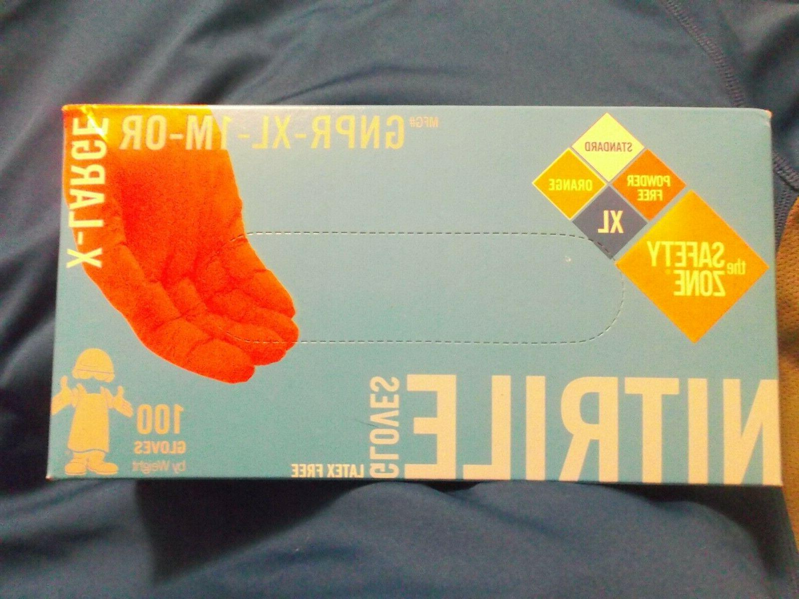 New Box of Hi-Vis Orange Nitrile Free Gloves-Sz XL